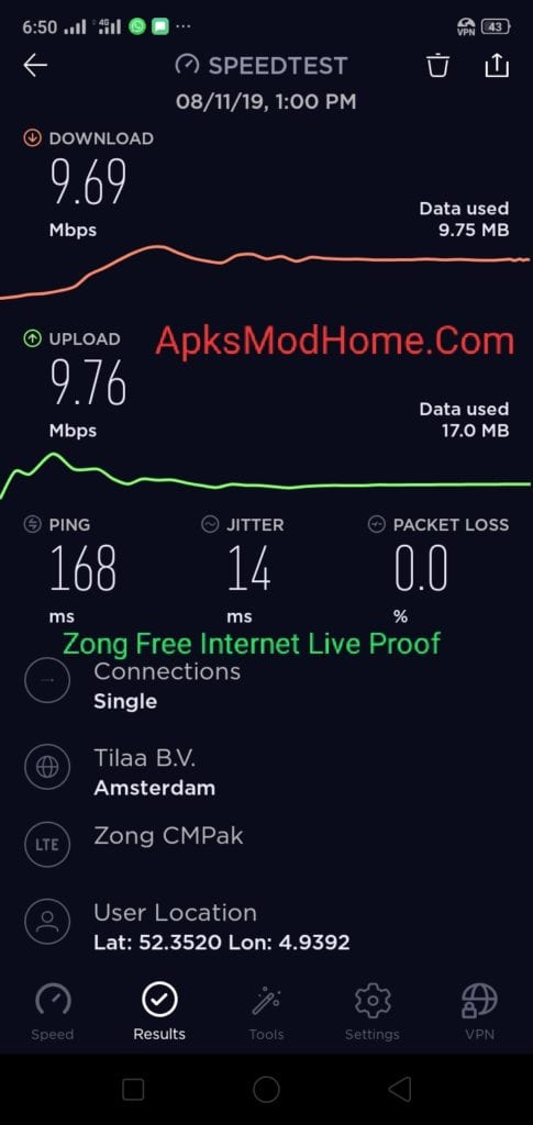 Zong Free Internet, ookla speed test